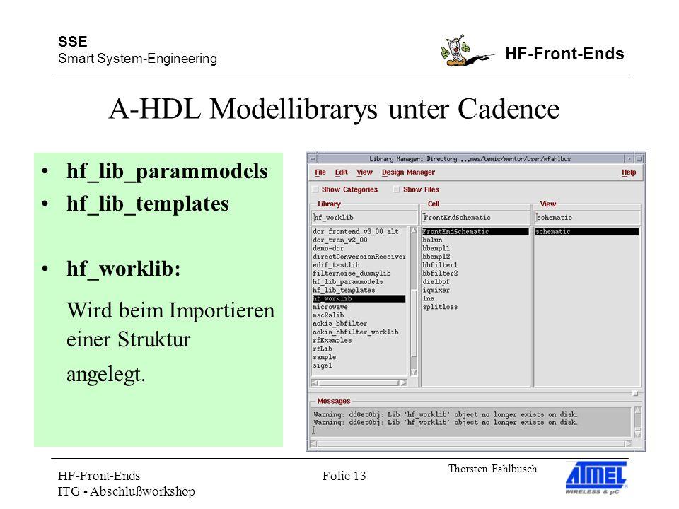 SSE Smart System-Engineering HF-Front-Ends Thorsten Fahlbusch HF-Front-Ends ITG - Abschlußworkshop Folie 13 A-HDL Modellibrarys unter Cadence hf_lib_parammodels hf_lib_templates hf_worklib: Wird beim Importieren einer Struktur angelegt.