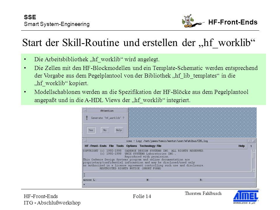 SSE Smart System-Engineering HF-Front-Ends Thorsten Fahlbusch HF-Front-Ends ITG - Abschlußworkshop Folie 14 Start der Skill-Routine und erstellen der