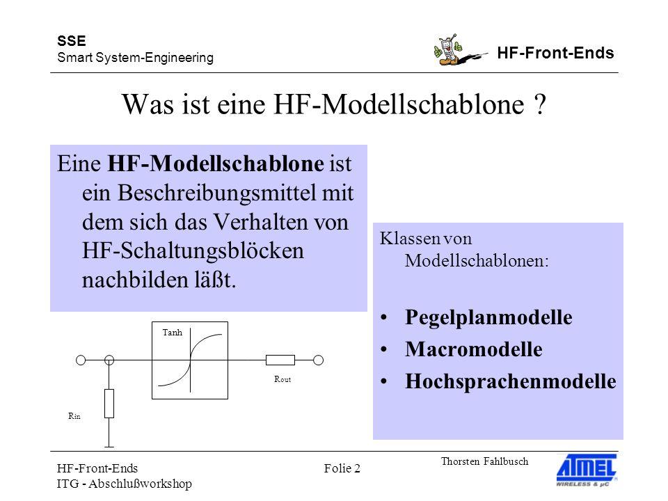 SSE Smart System-Engineering HF-Front-Ends Thorsten Fahlbusch HF-Front-Ends ITG - Abschlußworkshop Folie 2 Was ist eine HF-Modellschablone ? Eine HF-M