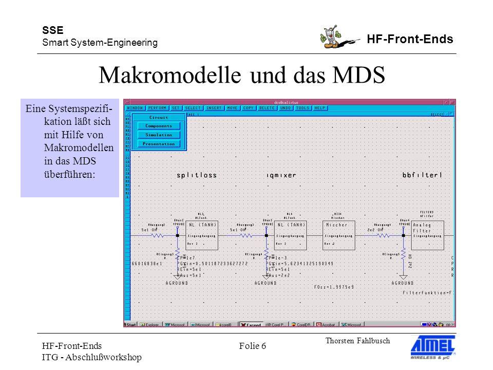 SSE Smart System-Engineering HF-Front-Ends Thorsten Fahlbusch HF-Front-Ends ITG - Abschlußworkshop Folie 6 Makromodelle und das MDS Eine Systemspezifi- kation läßt sich mit Hilfe von Makromodellen in das MDS überführen: