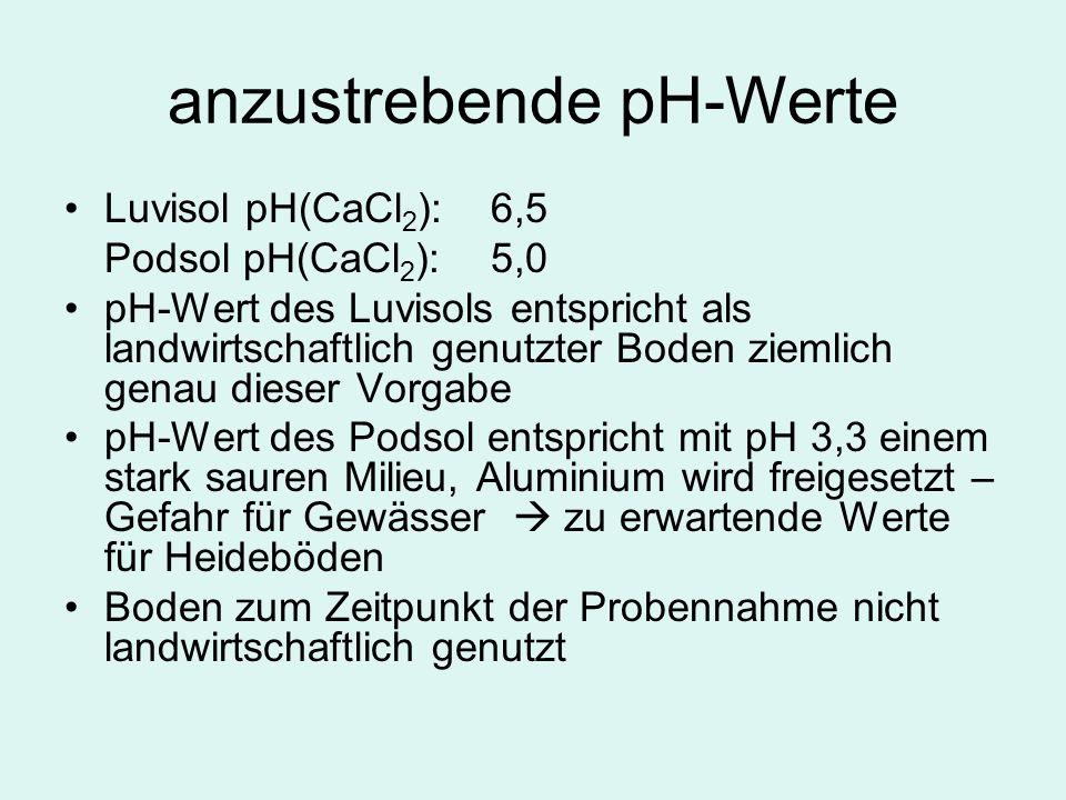 anzustrebende pH-Werte Luvisol pH(CaCl 2 ):6,5 Podsol pH(CaCl 2 ):5,0 pH-Wert des Luvisols entspricht als landwirtschaftlich genutzter Boden ziemlich genau dieser Vorgabe pH-Wert des Podsol entspricht mit pH 3,3 einem stark sauren Milieu, Aluminium wird freigesetzt – Gefahr für Gewässer zu erwartende Werte für Heideböden Boden zum Zeitpunkt der Probennahme nicht landwirtschaftlich genutzt