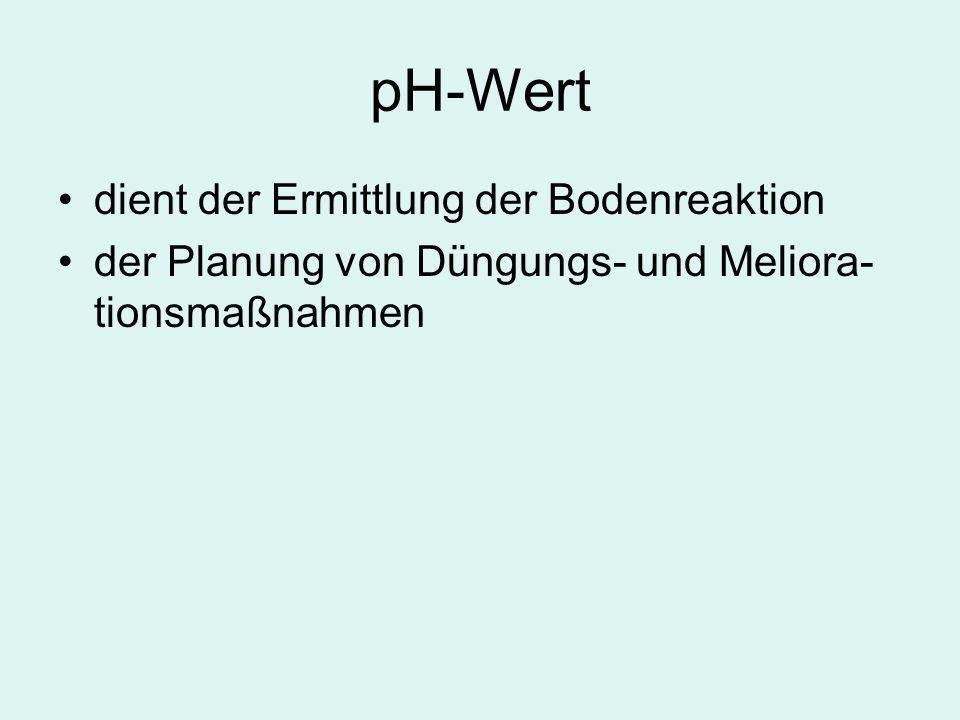 pH-Wert dient der Ermittlung der Bodenreaktion der Planung von Düngungs- und Meliora- tionsmaßnahmen