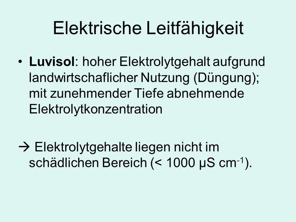 Elektrische Leitfähigkeit Luvisol: hoher Elektrolytgehalt aufgrund landwirtschaflicher Nutzung (Düngung); mit zunehmender Tiefe abnehmende Elektrolytkonzentration Elektrolytgehalte liegen nicht im schädlichen Bereich (< 1000 µS cm -1 ).