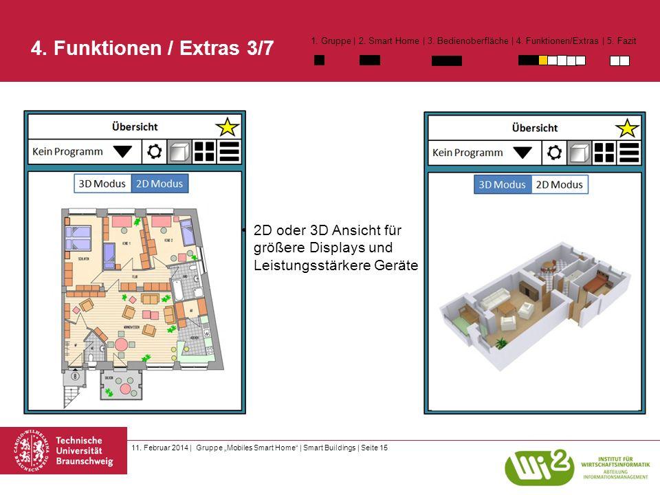11. Februar 2014 | Gruppe Mobiles Smart Home | Smart Buildings | Seite 15 2D oder 3D Ansicht für größere Displays und Leistungsstärkere Geräte 4. Funk