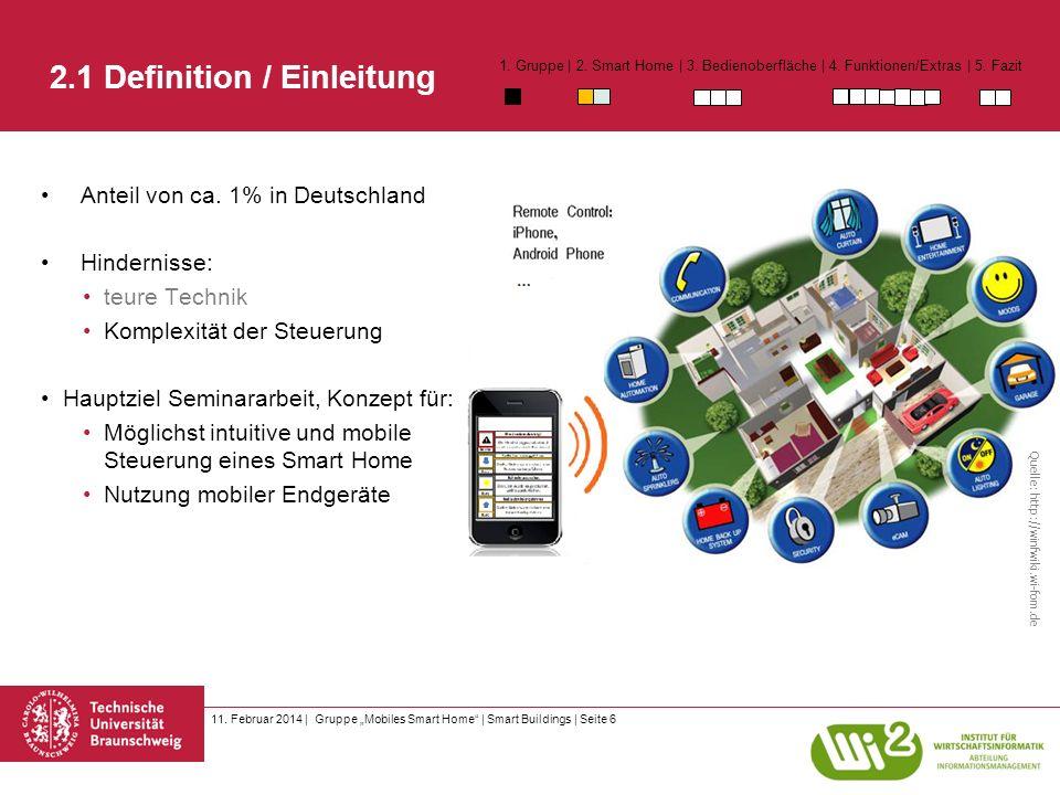 11. Februar 2014 | Gruppe Mobiles Smart Home | Smart Buildings | Seite 6 2.1 Definition / Einleitung Anteil von ca. 1% in Deutschland Hindernisse: teu