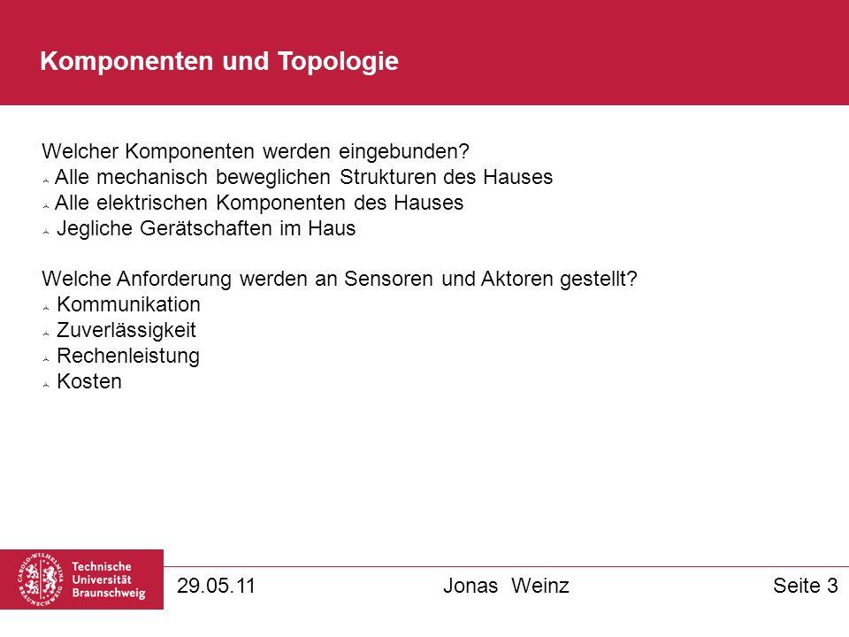Komponenten und Topologie 29.05.11Jonas WeinzSeite 3 Welcher Komponenten werden eingebunden.