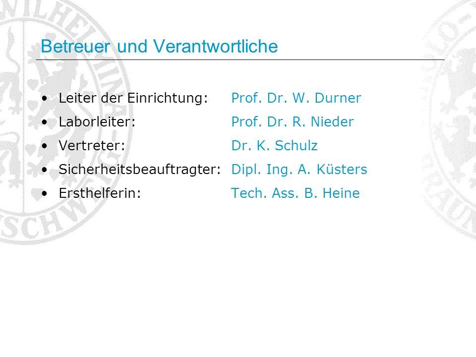 Betreuer und Verantwortliche Leiter der Einrichtung:Prof. Dr. W. Durner Laborleiter:Prof. Dr. R. Nieder Vertreter:Dr. K. Schulz Sicherheitsbeauftragte