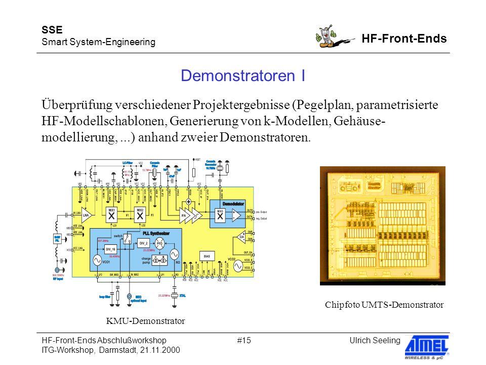 SSE Smart System-Engineering HF-Front-Ends Ulrich SeelingHF-Front-Ends Abschlußworkshop ITG-Workshop, Darmstadt, 21.11.2000 #15 Demonstratoren I Überprüfung verschiedener Projektergebnisse (Pegelplan, parametrisierte HF-Modellschablonen, Generierung von k-Modellen, Gehäuse- modellierung,...) anhand zweier Demonstratoren.