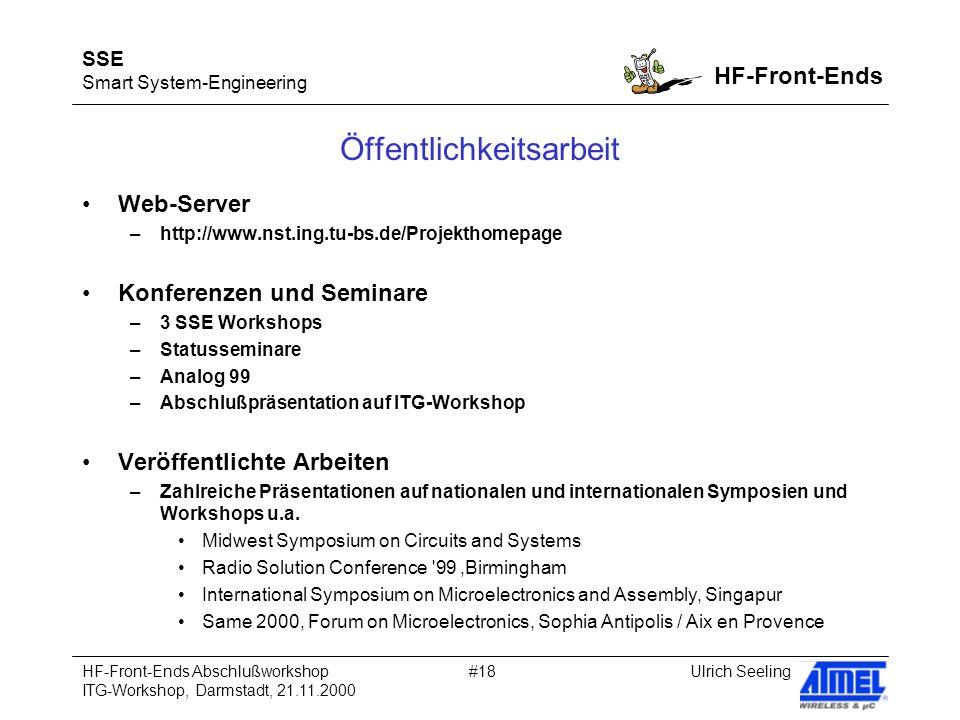 SSE Smart System-Engineering HF-Front-Ends Ulrich SeelingHF-Front-Ends Abschlußworkshop ITG-Workshop, Darmstadt, 21.11.2000 #18 Öffentlichkeitsarbeit Web-Server –http://www.nst.ing.tu-bs.de/Projekthomepage Konferenzen und Seminare –3 SSE Workshops –Statusseminare –Analog 99 –Abschlußpräsentation auf ITG-Workshop Veröffentlichte Arbeiten –Zahlreiche Präsentationen auf nationalen und internationalen Symposien und Workshops u.a.