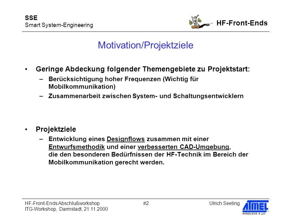 SSE Smart System-Engineering HF-Front-Ends Ulrich SeelingHF-Front-Ends Abschlußworkshop ITG-Workshop, Darmstadt, 21.11.2000 #2 Motivation/Projektziele
