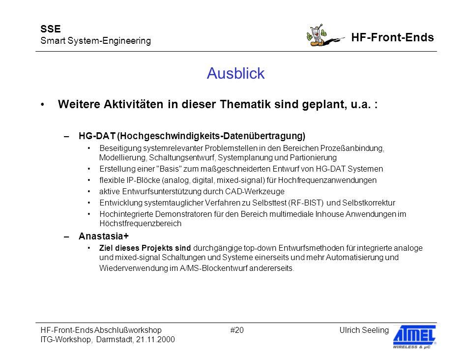 SSE Smart System-Engineering HF-Front-Ends Ulrich SeelingHF-Front-Ends Abschlußworkshop ITG-Workshop, Darmstadt, 21.11.2000 #20 Ausblick Weitere Aktivitäten in dieser Thematik sind geplant, u.a.