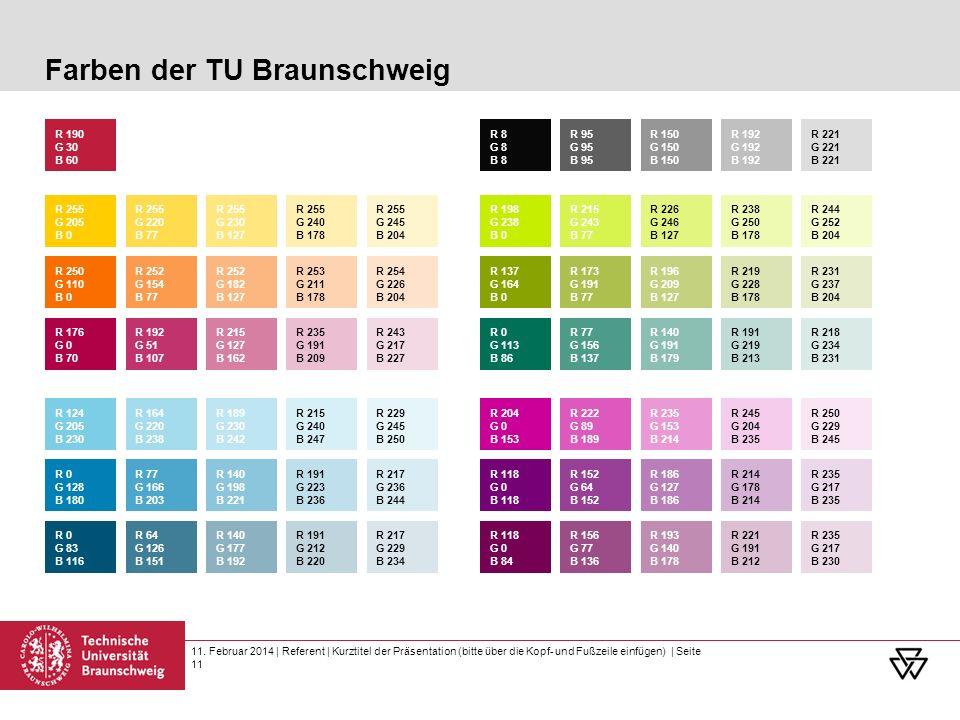 11. Februar 2014 | Referent | Kurztitel der Präsentation (bitte über die Kopf- und Fußzeile einfügen) | Seite 11 Farben der TU Braunschweig R 255 G 20