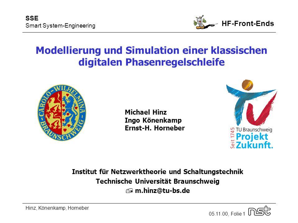 SSE Smart System-Engineering HF-Front-Ends Hinz, Könenkamp, Horneber 05.11.00, Folie 1 Modellierung und Simulation einer klassischen digitalen Phasenregelschleife Michael Hinz Ingo Könenkamp Ernst-H.