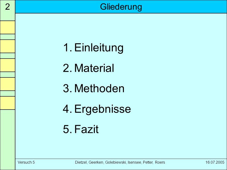 Gliederung2 Versuch 5 Dietzel, Geerken, Golebiewski, Isensee, Petter, Roers 16.07.2005 1.Einleitung 2.Material 3.Methoden 4.Ergebnisse 5.Fazit