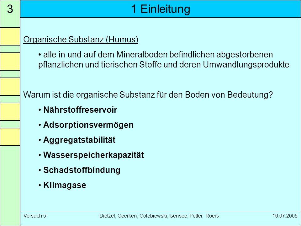 1 Einleitung3 Versuch 5 Dietzel, Geerken, Golebiewski, Isensee, Petter, Roers 16.07.2005 Organische Substanz (Humus) alle in und auf dem Mineralboden