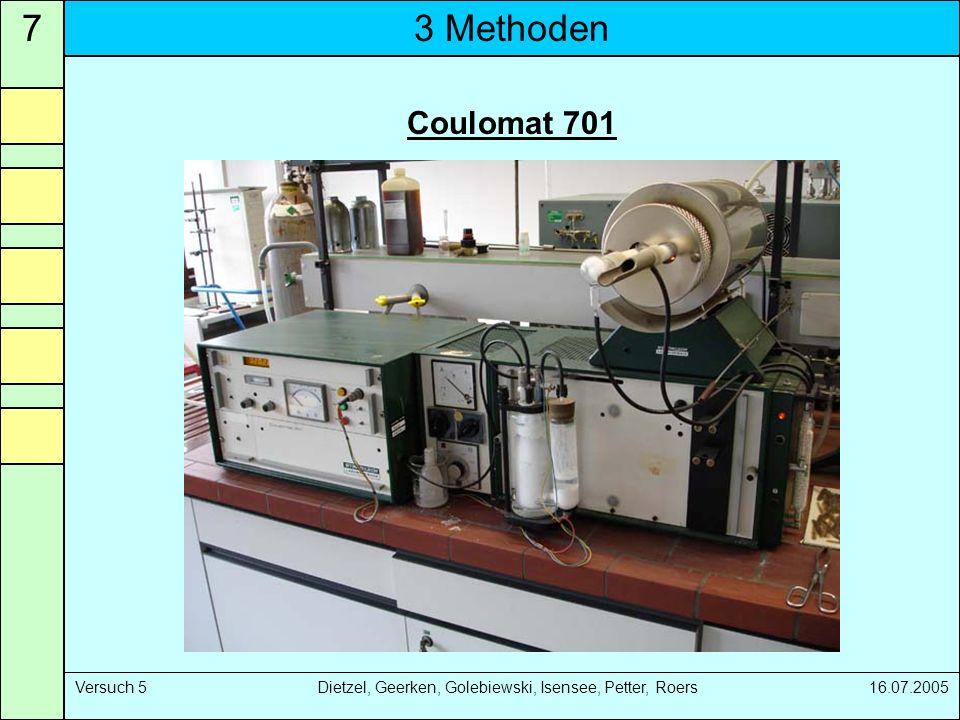 3 Methoden7 Versuch 5 Dietzel, Geerken, Golebiewski, Isensee, Petter, Roers 16.07.2005 Coulomat 701