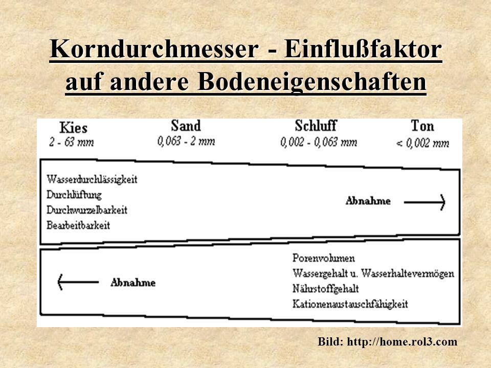 Korndurchmesser - Einflußfaktor auf andere Bodeneigenschaften Bild: http://home.rol3.com