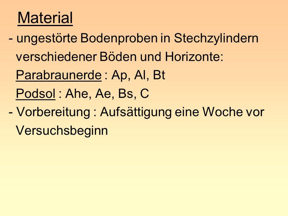 Material - ungestörte Bodenproben in Stechzylindern verschiedener Böden und Horizonte: Parabraunerde : Ap, Al, Bt Podsol : Ahe, Ae, Bs, C - Vorbereitu
