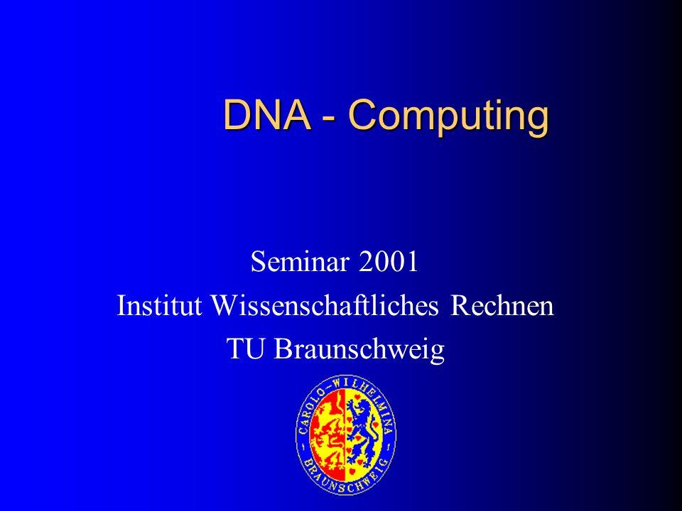 Überblick Historische Entwicklung Biologische Grundlagen Hamilton Path Problem (HPP) Kombinatorische DNA – Lösung des HPP Modelle von DNA-Computing Nanostrukturen der DNA Ausblick