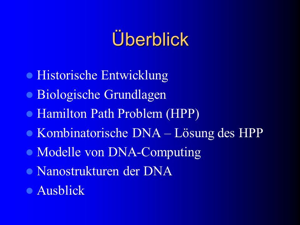 Überblick Historische Entwicklung Biologische Grundlagen Hamilton Path Problem (HPP) Kombinatorische DNA – Lösung des HPP Modelle von DNA-Computing Na