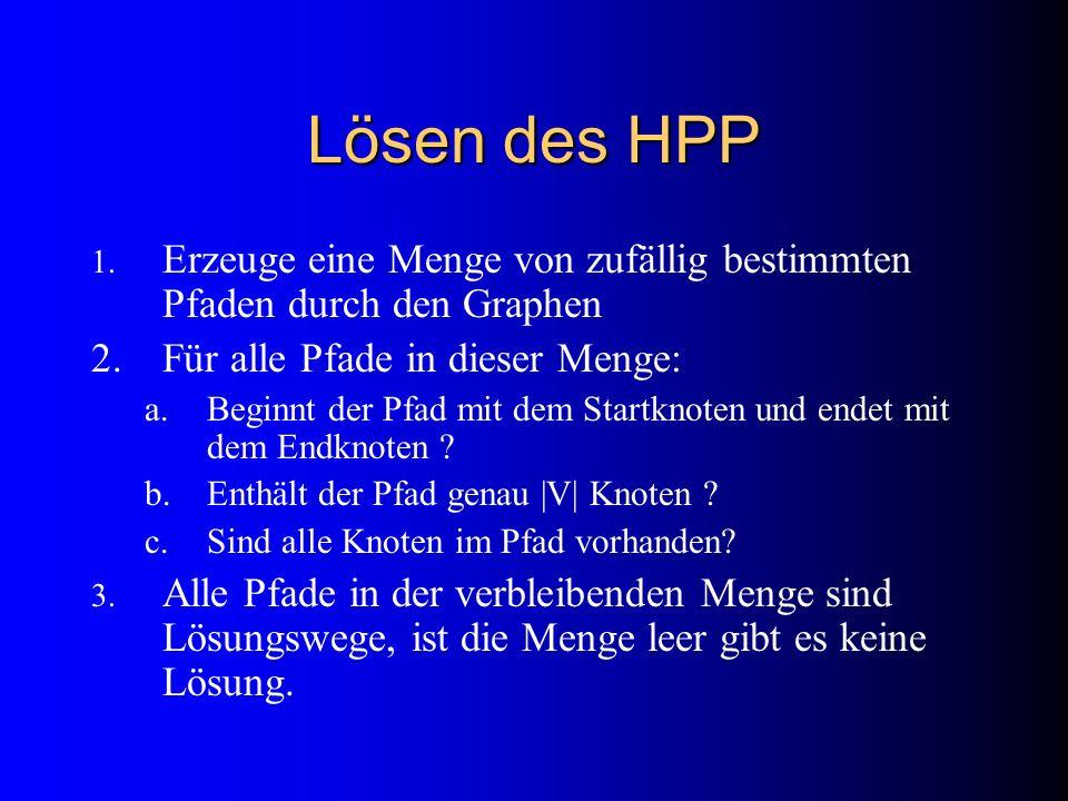 Lösen des HPP 1. Erzeuge eine Menge von zufällig bestimmten Pfaden durch den Graphen 2.Für alle Pfade in dieser Menge: a.Beginnt der Pfad mit dem Star