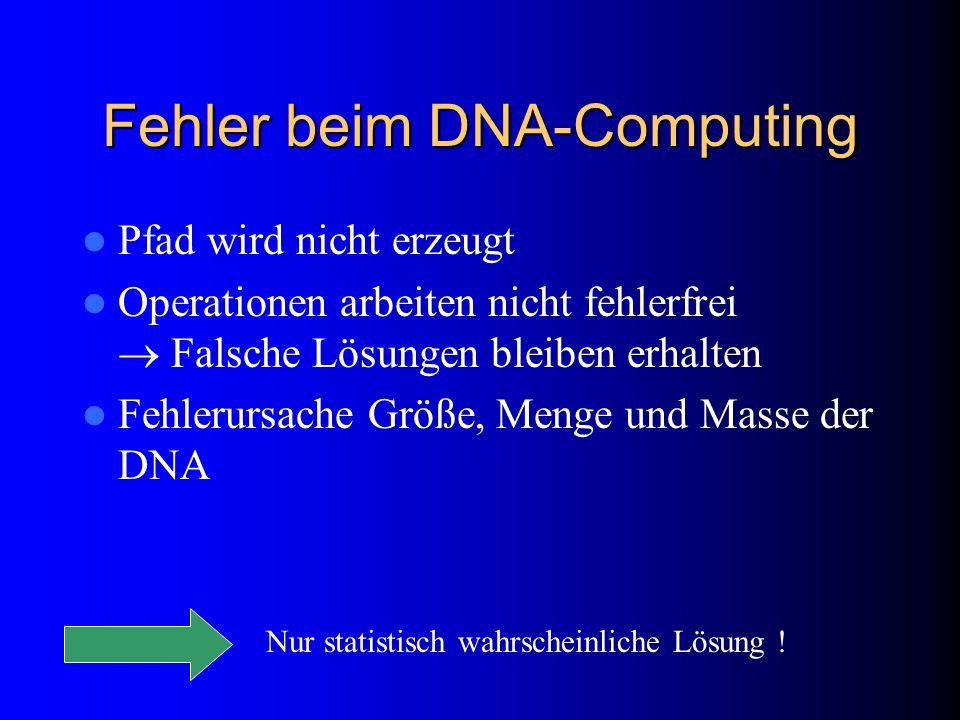 Fehler beim DNA-Computing Pfad wird nicht erzeugt Operationen arbeiten nicht fehlerfrei Falsche Lösungen bleiben erhalten Fehlerursache Größe, Menge u