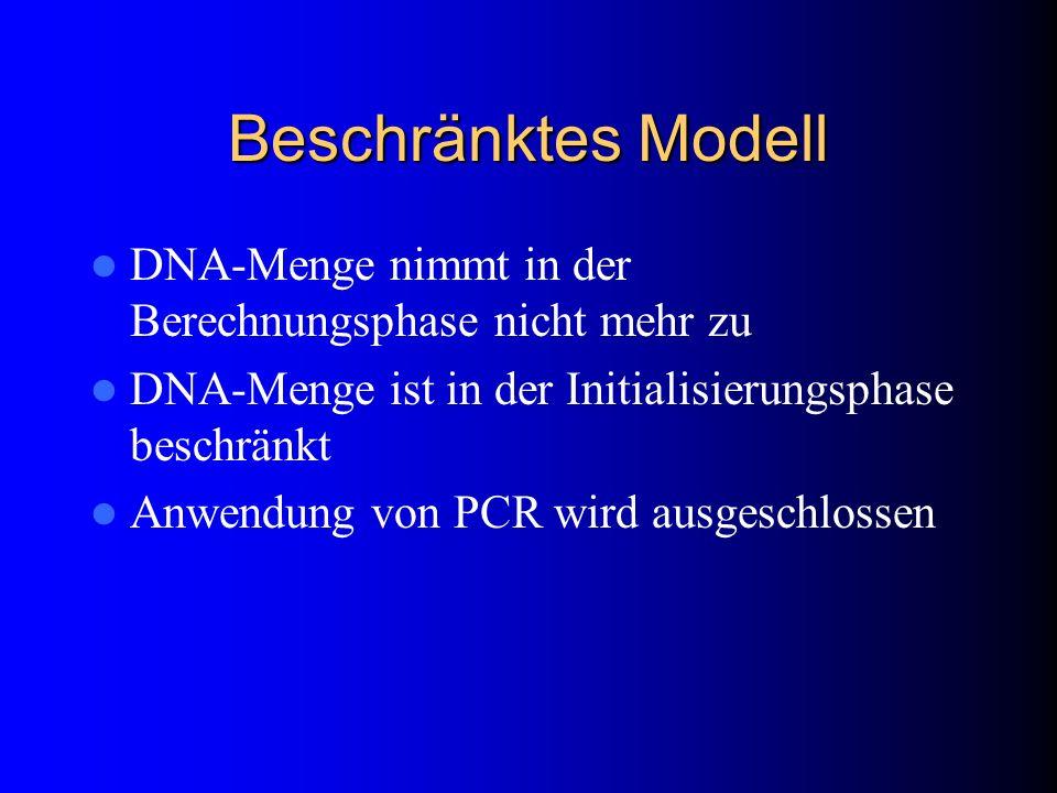 Beschränktes Modell DNA-Menge nimmt in der Berechnungsphase nicht mehr zu DNA-Menge ist in der Initialisierungsphase beschränkt Anwendung von PCR wird