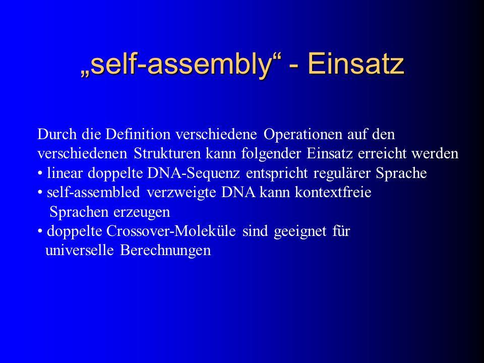 self-assembly - Einsatz Durch die Definition verschiedene Operationen auf den verschiedenen Strukturen kann folgender Einsatz erreicht werden linear d