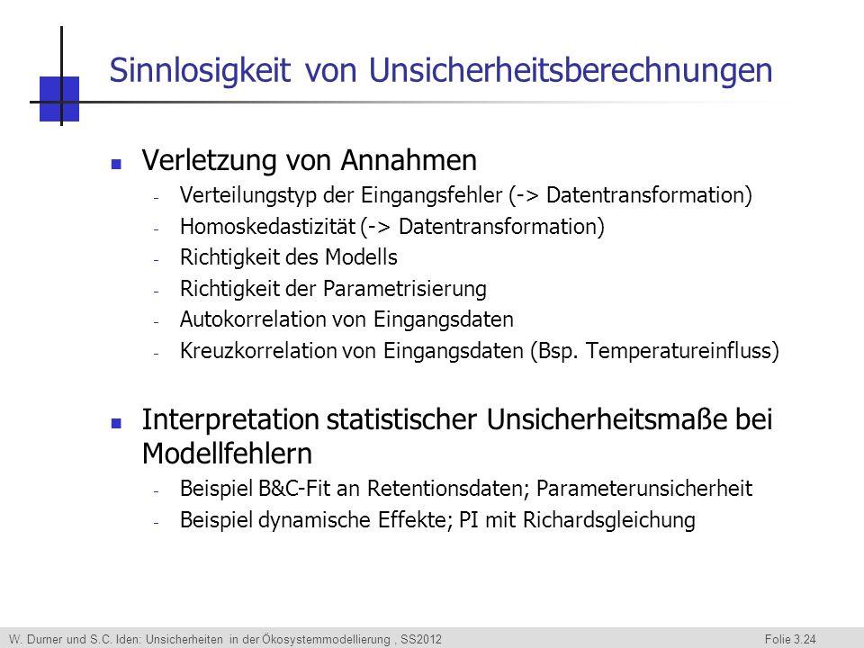 W. Durner und S.C. Iden: Unsicherheiten in der Ökosystemmodellierung, SS2012 Folie 3.24 Sinnlosigkeit von Unsicherheitsberechnungen Verletzung von Ann