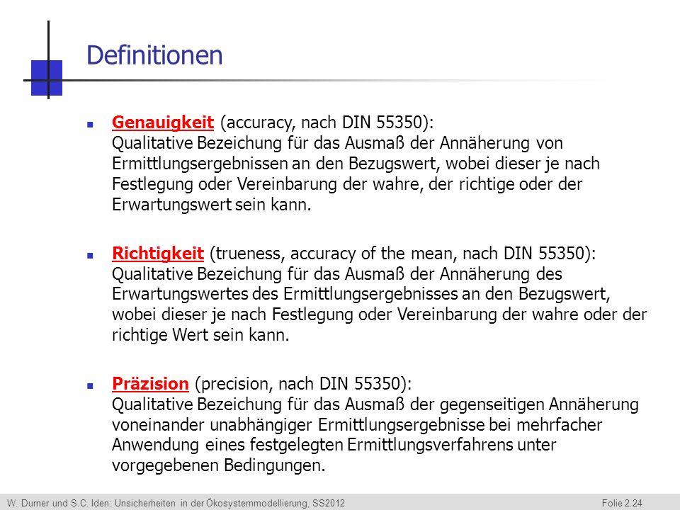 W. Durner und S.C. Iden: Unsicherheiten in der Ökosystemmodellierung, SS2012 Folie 2.24 Definitionen Genauigkeit (accuracy, nach DIN 55350): Qualitati