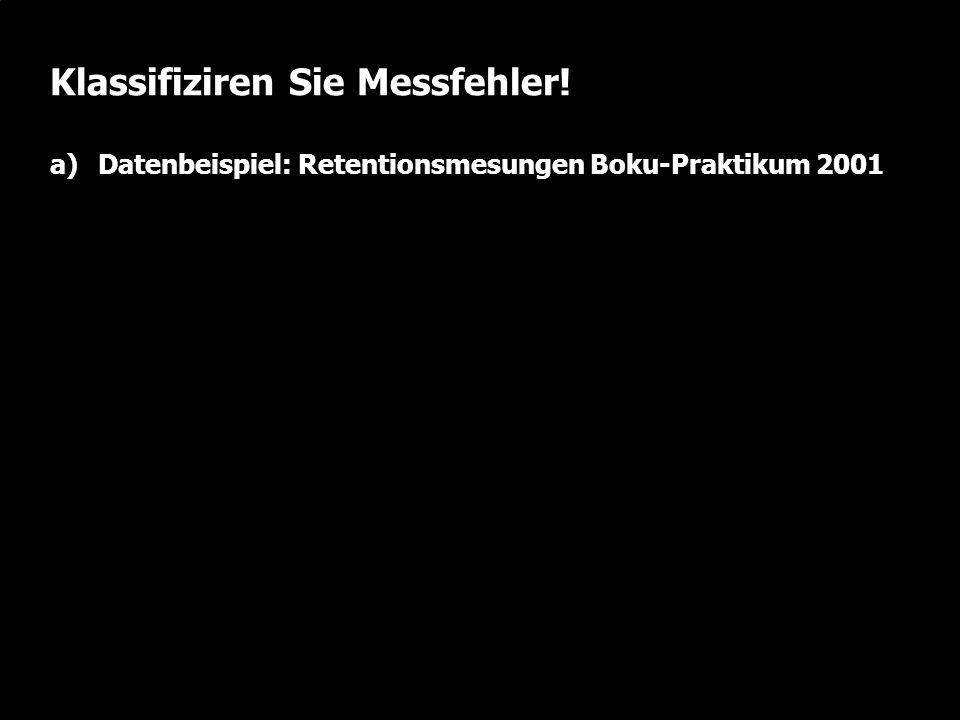 W. Durner und S.C. Iden: Unsicherheiten in der Ökosystemmodellierung, SS2012 Folie 2.26 Klassifiziren Sie Messfehler! a)Datenbeispiel: Retentionsmesun
