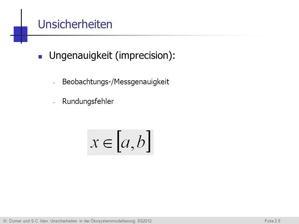 W. Durner und S.C. Iden: Unsicherheiten in der Ökosystemmodellierung, SS2012 Folie 2.6 Unsicherheiten Ungenauigkeit (imprecision): Beobachtungs-/Messg