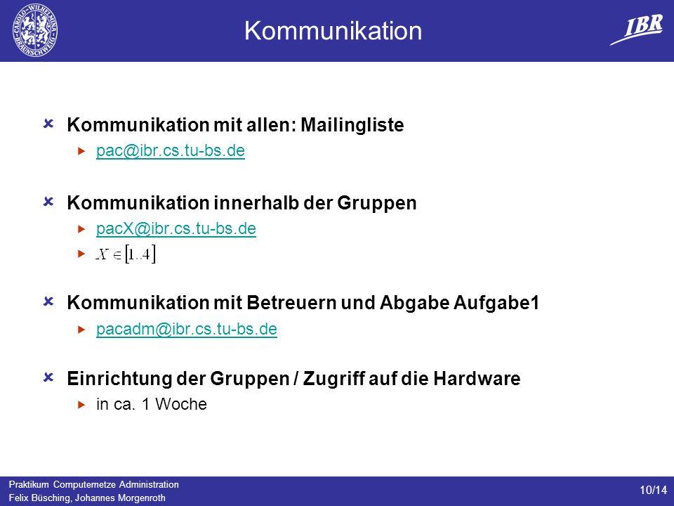 Praktikum Computernetze Administration Felix Büsching, Johannes Morgenroth 10/14 Kommunikation Kommunikation mit allen: Mailingliste pac@ibr.cs.tu-bs.
