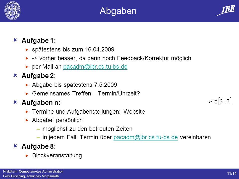 Praktikum Computernetze Administration Felix Büsching, Johannes Morgenroth 11/14 Abgaben Aufgabe 1: spätestens bis zum 16.04.2009 -> vorher besser, da