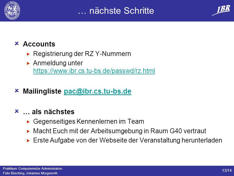Praktikum Computernetze Administration Felix Büsching, Johannes Morgenroth 13/14 … nächste Schritte Accounts Registrierung der RZ Y-Nummern Anmeldung unter https://www.ibr.cs.tu-bs.de/passwd/rz.html https://www.ibr.cs.tu-bs.de/passwd/rz.html Mailingliste pac@ibr.cs.tu-bs.depac@ibr.cs.tu-bs.de … als nächstes Gegenseitiges Kennenlernen im Team Macht Euch mit der Arbeitsumgebung in Raum G40 vertraut Erste Aufgabe von der Webseite der Veranstaltung herunterladen