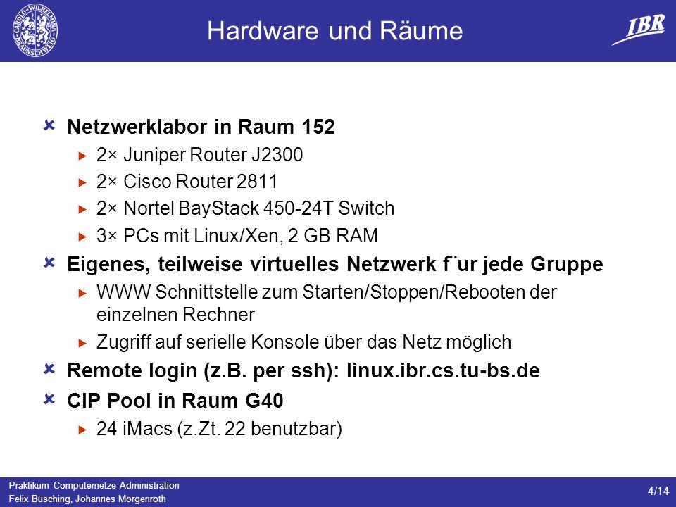Praktikum Computernetze Administration Felix Büsching, Johannes Morgenroth 4/14 Hardware und Räume Netzwerklabor in Raum 152 2× Juniper Router J2300 2× Cisco Router 2811 2× Nortel BayStack 450-24T Switch 3× PCs mit Linux/Xen, 2 GB RAM Eigenes, teilweise virtuelles Netzwerk f¨ur jede Gruppe WWW Schnittstelle zum Starten/Stoppen/Rebooten der einzelnen Rechner Zugriff auf serielle Konsole über das Netz möglich Remote login (z.B.