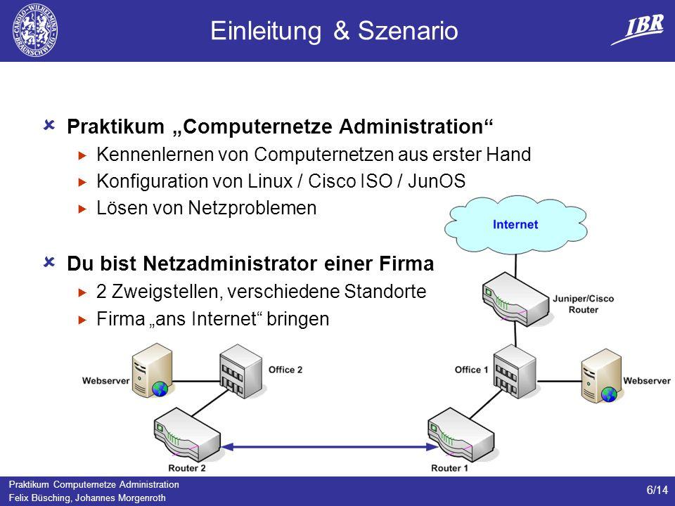 Praktikum Computernetze Administration Felix Büsching, Johannes Morgenroth 6/14 Einleitung & Szenario Praktikum Computernetze Administration Kennenler