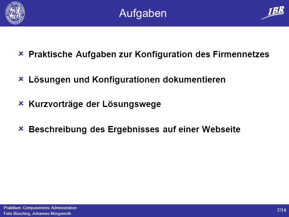Praktikum Computernetze Administration Felix Büsching, Johannes Morgenroth 7/14 Aufgaben Praktische Aufgaben zur Konfiguration des Firmennetzes Lösungen und Konfigurationen dokumentieren Kurzvorträge der Lösungswege Beschreibung des Ergebnisses auf einer Webseite