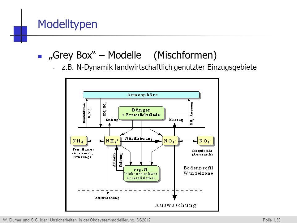 W. Durner und S.C. Iden: Unsicherheiten in der Ökosystemmodellierung, SS2012 Folie 1.30 Modelltypen Grey Box – Modelle (Mischformen) z.B. N-Dynamik la
