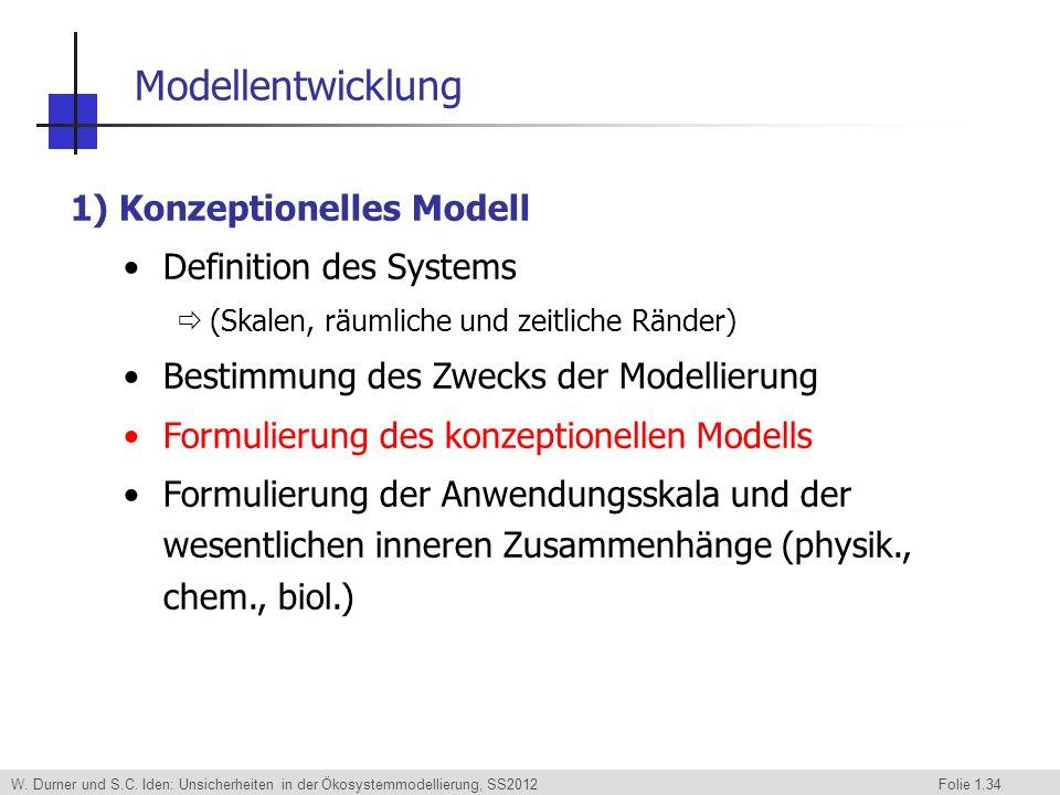 W. Durner und S.C. Iden: Unsicherheiten in der Ökosystemmodellierung, SS2012 Folie 1.34 1) Konzeptionelles Modell Definition des Systems (Skalen, räum