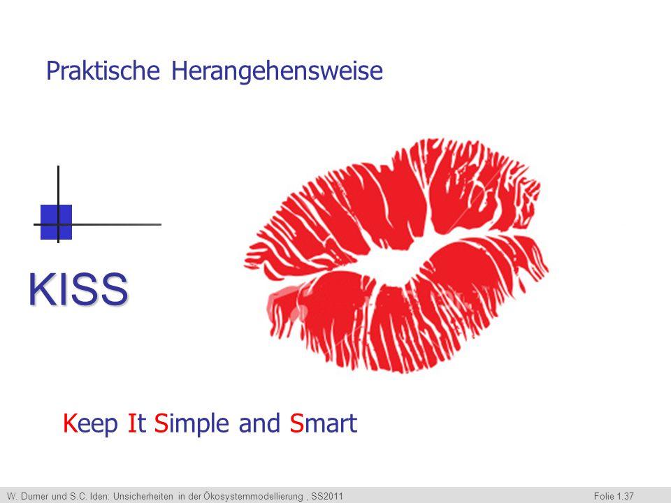 W. Durner und S.C. Iden: Unsicherheiten in der Ökosystemmodellierung, SS2011 Folie 1.37 KISS Keep It Simple and Smart Praktische Herangehensweise