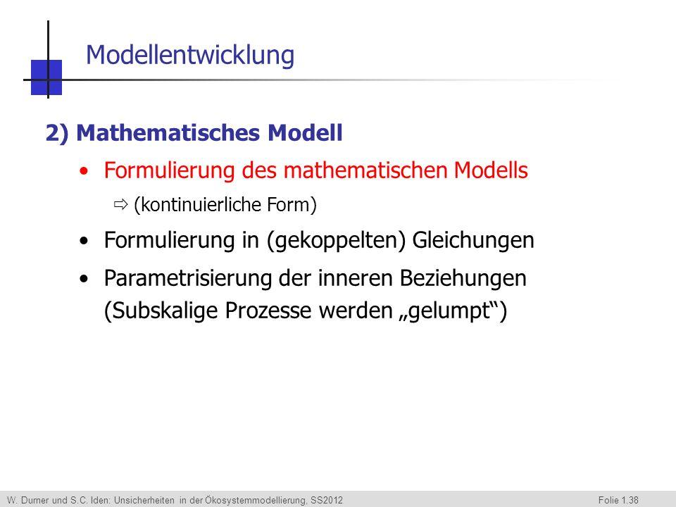 W. Durner und S.C. Iden: Unsicherheiten in der Ökosystemmodellierung, SS2012 Folie 1.38 2) Mathematisches Modell Formulierung des mathematischen Model