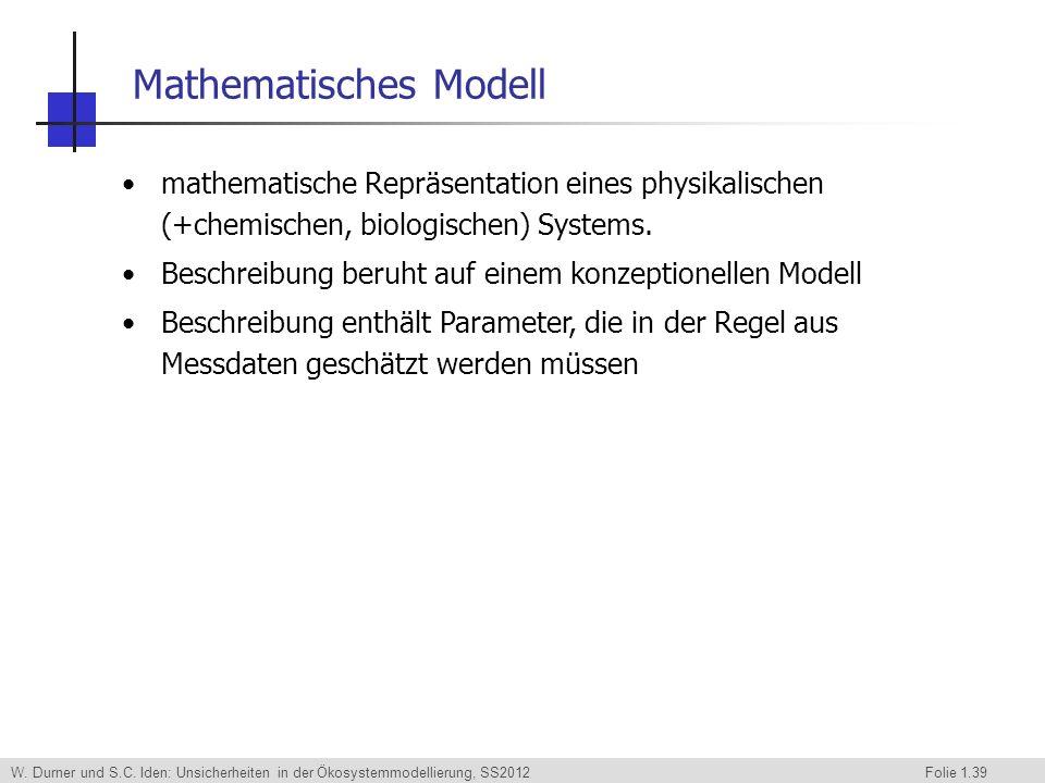W. Durner und S.C. Iden: Unsicherheiten in der Ökosystemmodellierung, SS2012 Folie 1.39 mathematische Repräsentation eines physikalischen (+chemischen