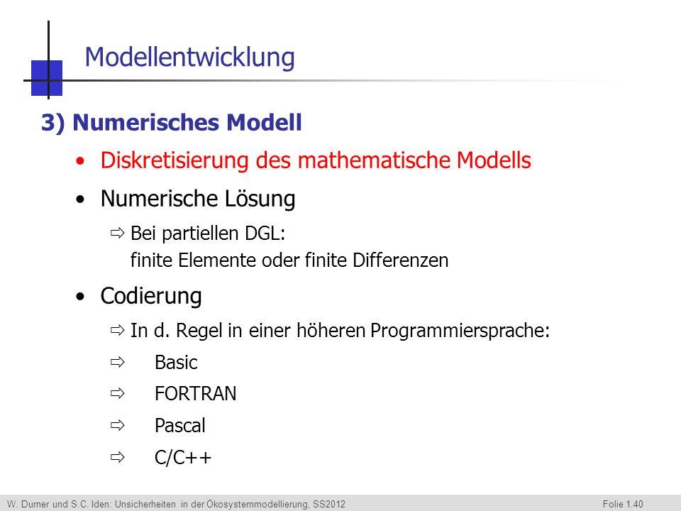 W. Durner und S.C. Iden: Unsicherheiten in der Ökosystemmodellierung, SS2012 Folie 1.40 3) Numerisches Modell Diskretisierung des mathematische Modell