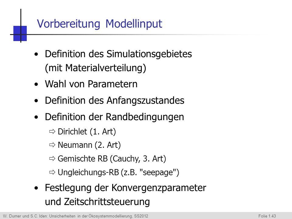 W. Durner und S.C. Iden: Unsicherheiten in der Ökosystemmodellierung, SS2012 Folie 1.43 Definition des Simulationsgebietes (mit Materialverteilung) Wa
