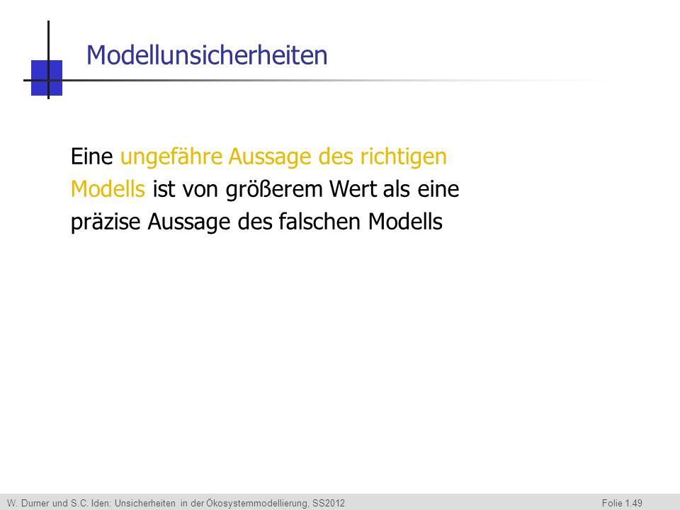 W. Durner und S.C. Iden: Unsicherheiten in der Ökosystemmodellierung, SS2012 Folie 1.49 Eine ungefähre Aussage des richtigen Modells ist von größerem