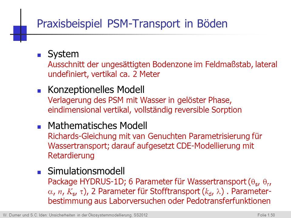 W. Durner und S.C. Iden: Unsicherheiten in der Ökosystemmodellierung, SS2012 Folie 1.50 Praxisbeispiel PSM-Transport in Böden System Ausschnitt der un