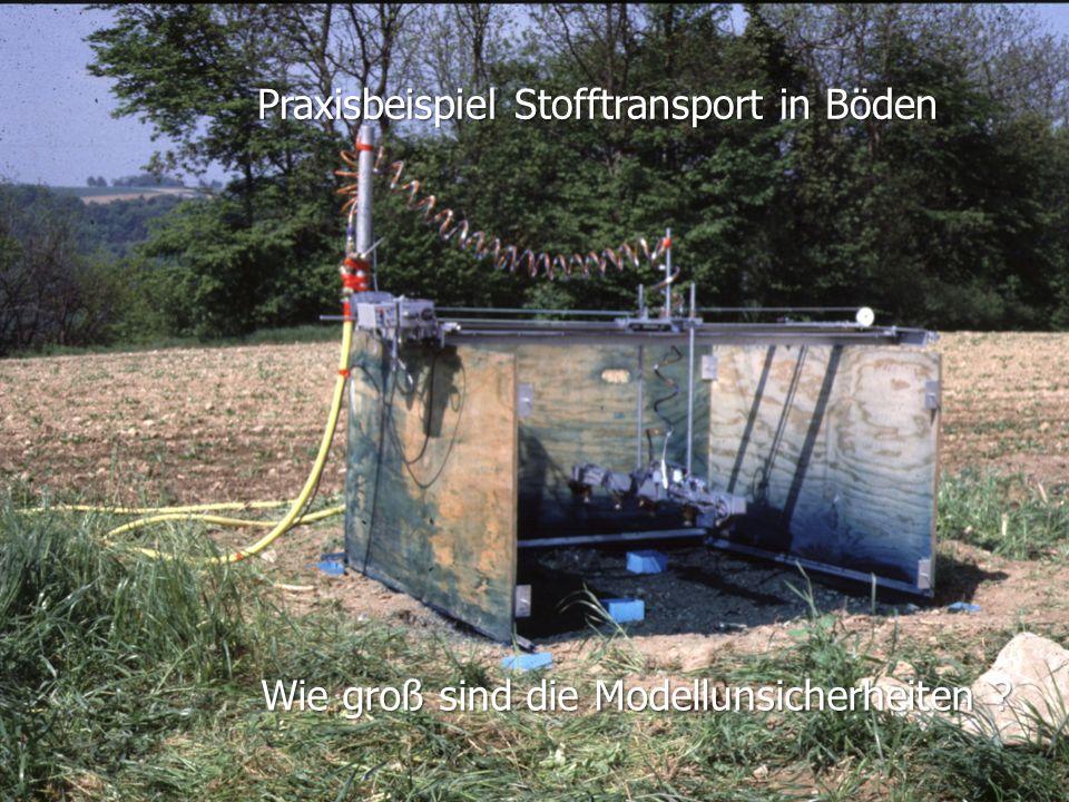W. Durner und S.C. Iden: Unsicherheiten in der Ökosystemmodellierung, SS2012 Folie 1.51 Skalenproblematik Tracerexperimente Praxisbeispiel Stofftransp