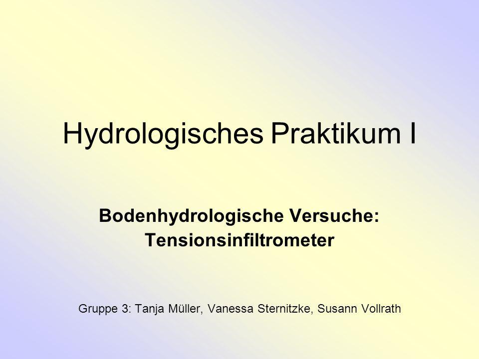 Hydrologisches Praktikum I Bodenhydrologische Versuche: Tensionsinfiltrometer Gruppe 3: Tanja Müller, Vanessa Sternitzke, Susann Vollrath