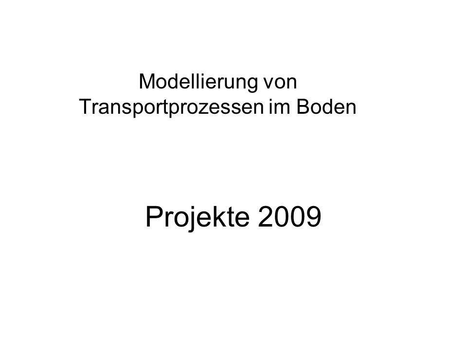 Projekte 2009 Modellierung von Transportprozessen im Boden